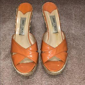 Jimmy Choo Phyllis Orange Patent Wedge. Size 40/10
